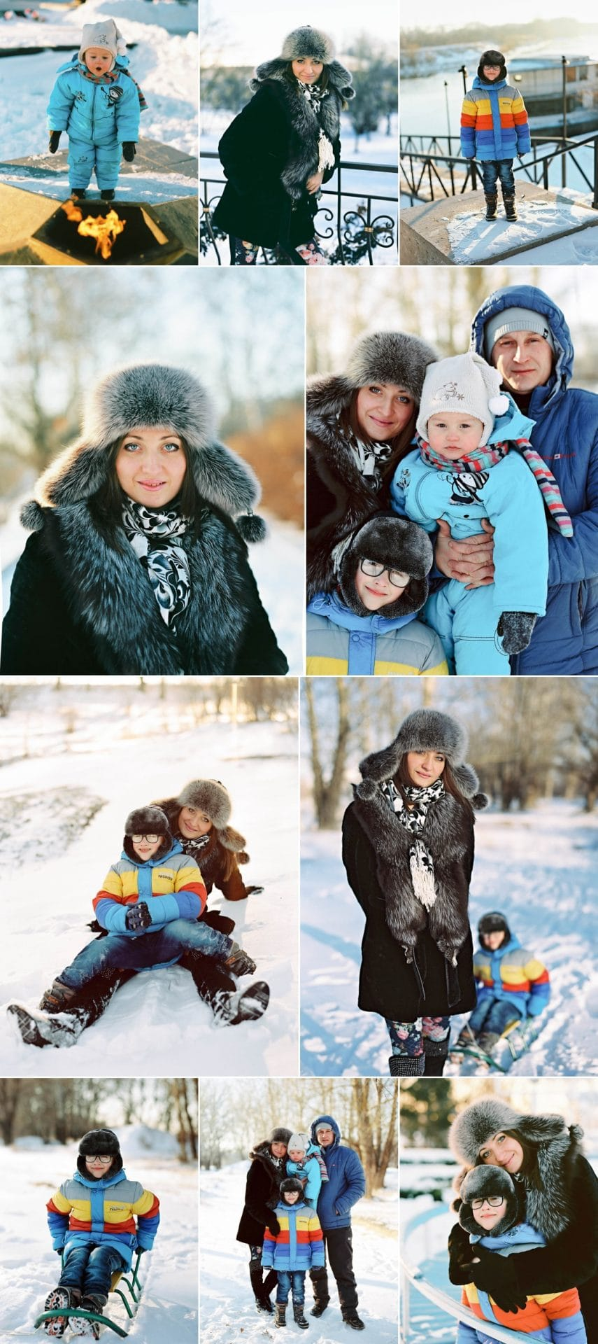Happy family enjoying photography in snow.playing in snow, using sleigh