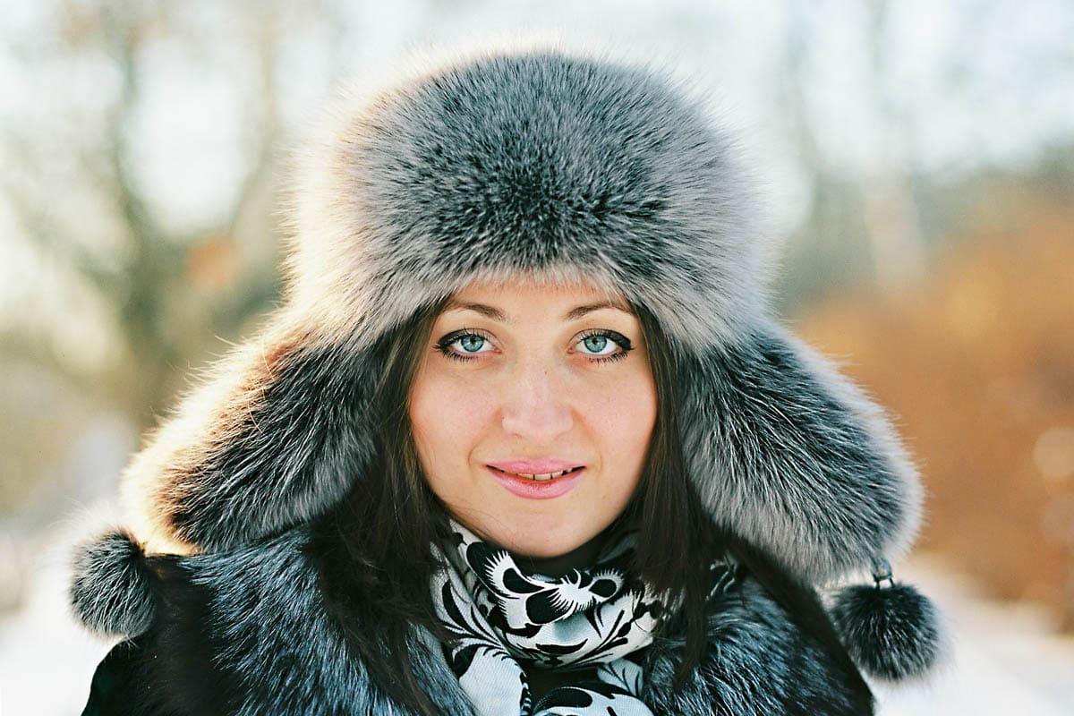portrait of a girl in winter fury hat