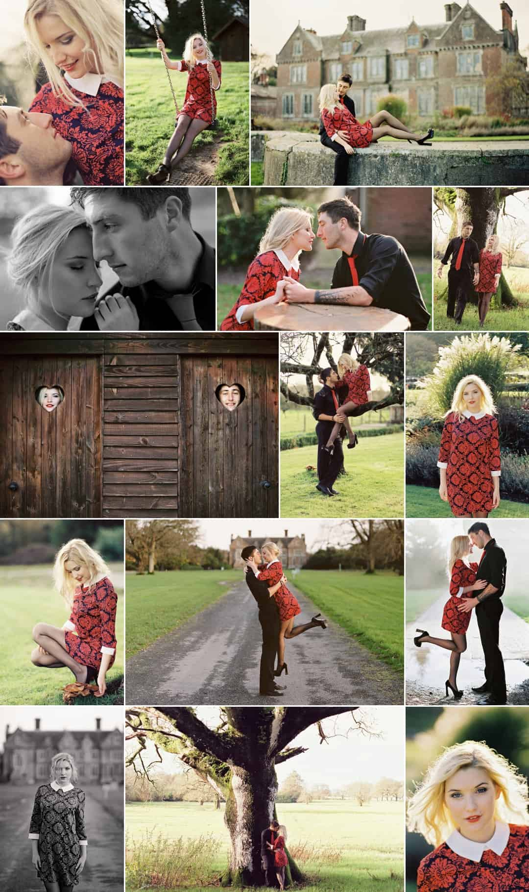 photos of a couple on their engagement photoshoot in the park on a sunny day