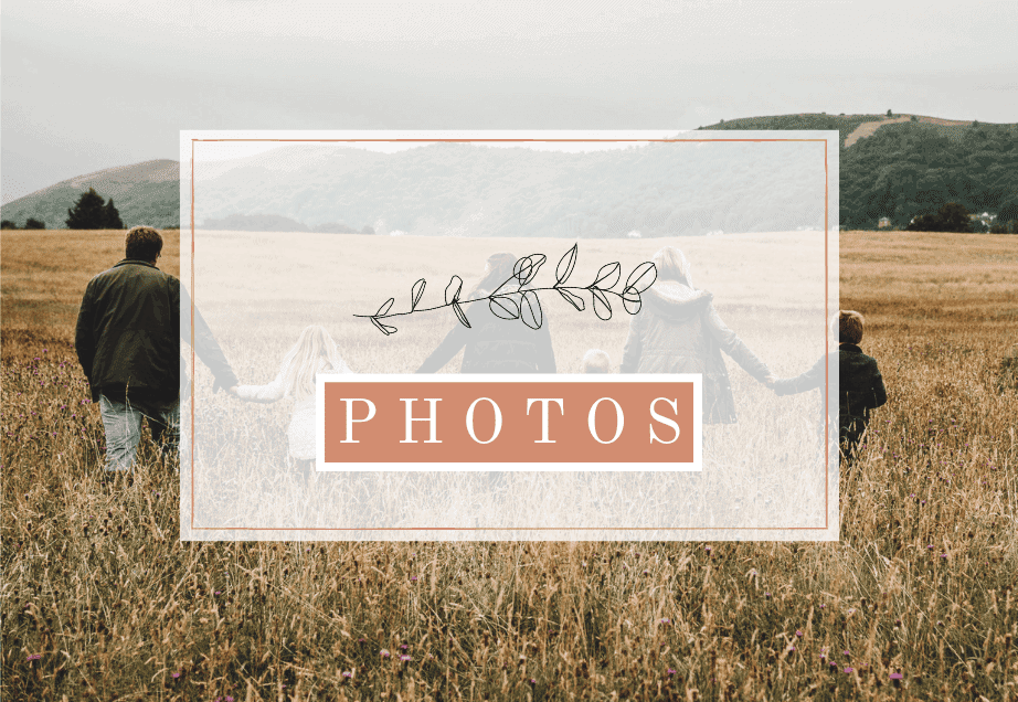 photo of a family holding hands and walking away in the field